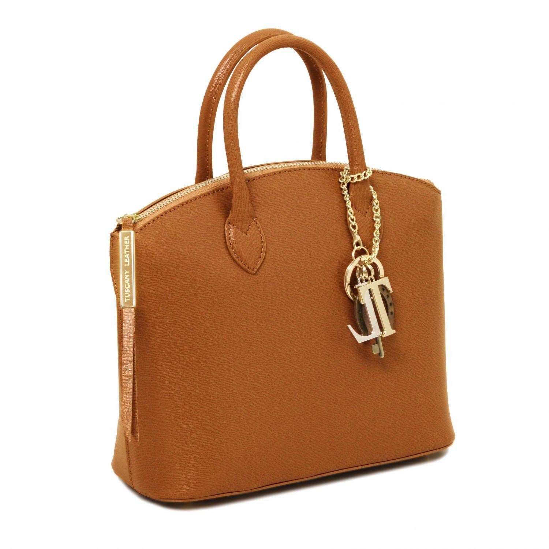 b72141b1caaea TL KeyLuck Shopper Tasche aus Saffiano Leder - Klein Cognac TL141265