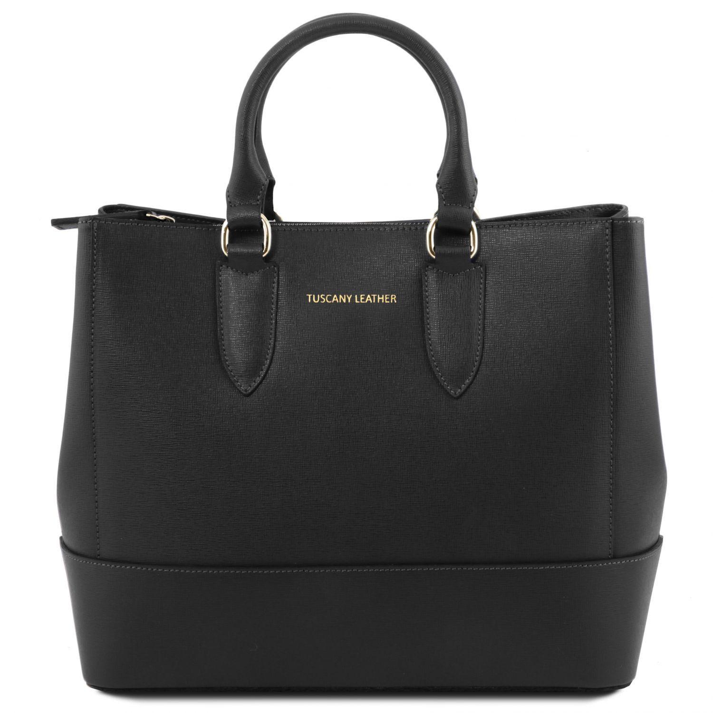 724421d19fb1a TL Bag Saffiano Leather Handbag Black TL141638