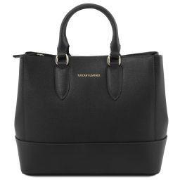 TL Bag Saffiano leather handbag Black TL141638
