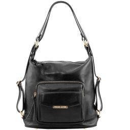 TL Bag Borsa donna in pelle convertibile a zaino Nero TL141535