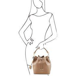 Vittoria Leather secchiello bag Темный серо-коричневый TL141531