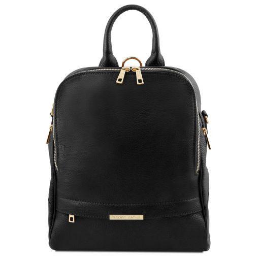 TL Bag Lederrucksack für Damen aus weichem Leder Schwarz TL141376