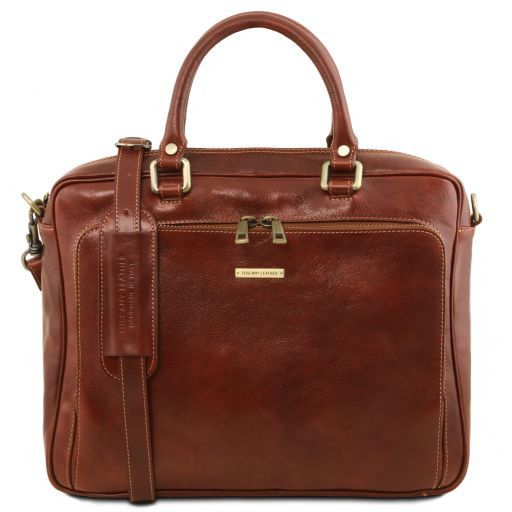 Pisa Leather laptop briefcase with front pocket Brown TL141660