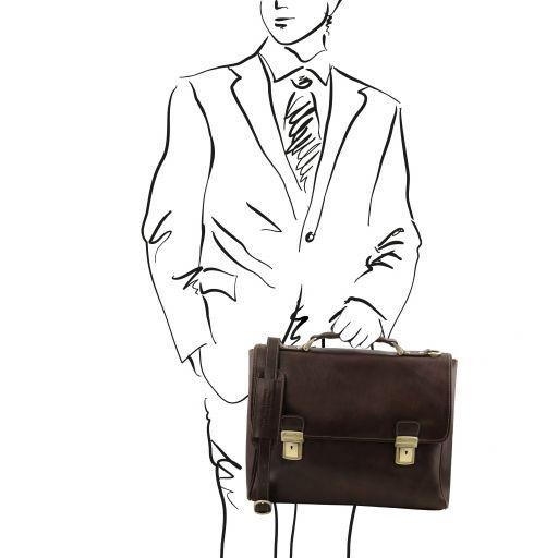 Trieste Esclusiva cartella porta notebook in pelle con 2 scomparti Testa di Moro TL141662