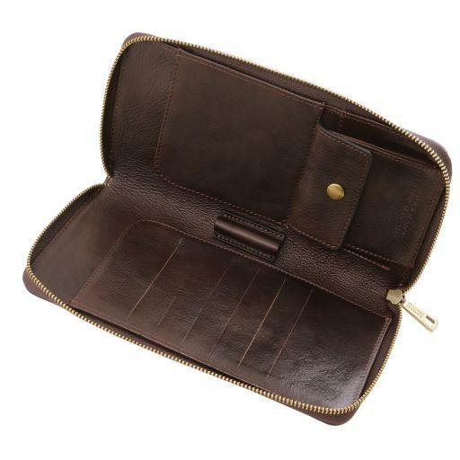 Elegante portadocumentos de viaje en piel Marrón oscuro TL141663