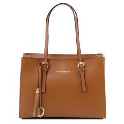 TL Bag Borsa a mano in pelle Saffiano Cognac TL141518