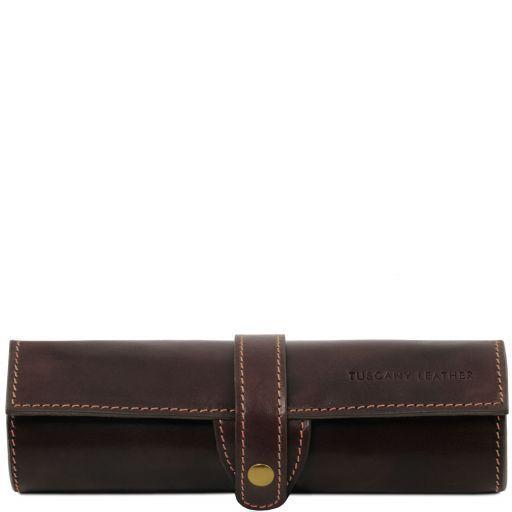 Exclusivo portaboligrafo en piel Marrón oscuro TL141620