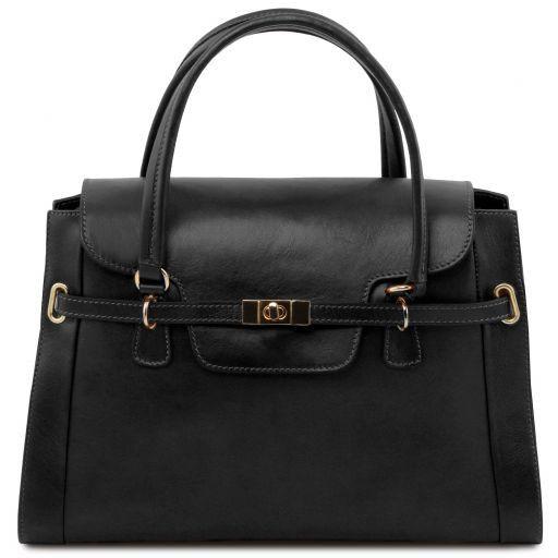 TL NeoClassic Lady leather handbag with twist lock Black TL141230