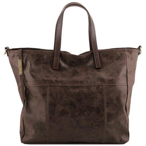 Annie Aged effect leather TL SMART shopping bag Dark Brown TL141552