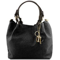 TL KeyLuck Woven printed leather shopping bag Black TL141573