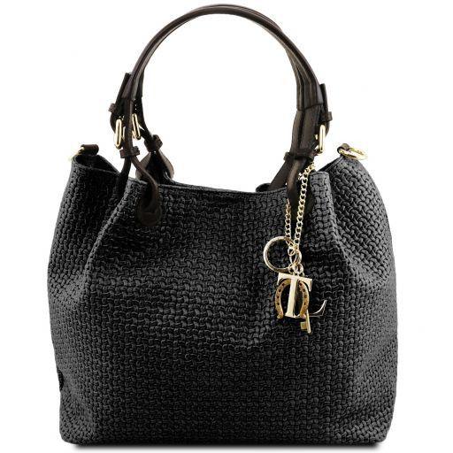 TL KeyLuck Sac shopping en cuir imprimé tressé Noir TL141573