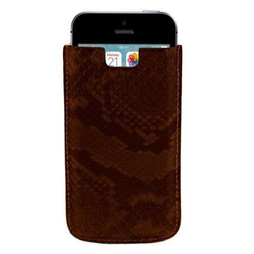 Sacoche pour iPhone SE/5s/5 en cuir de python Marron foncé TL141130
