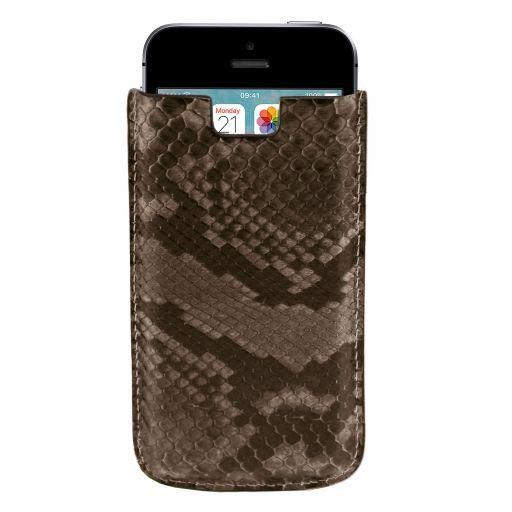 Porta iPhone SE/5s/5 en piel de pitón Plomizo TL141130