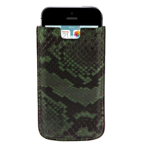 Esclusivo porta iPhone SE/5s/5 in vero pitone Verde scuro TL141130