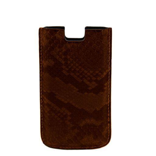 Esclusivo porta iPhone SE/5s/5 in vero pitone Testa di Moro TL141130