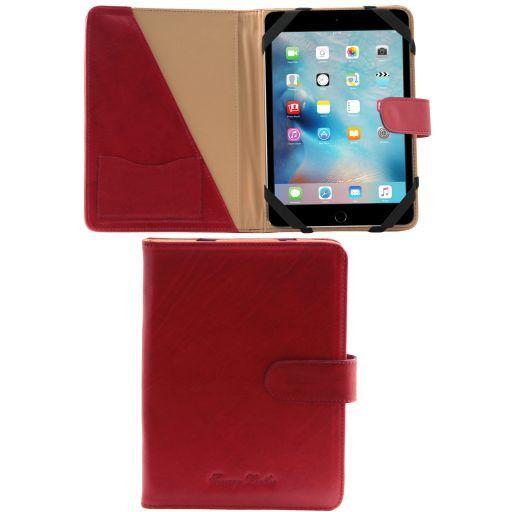 Leder iPad Mini 4 Hülle mit Druckknopf Rot TL141171