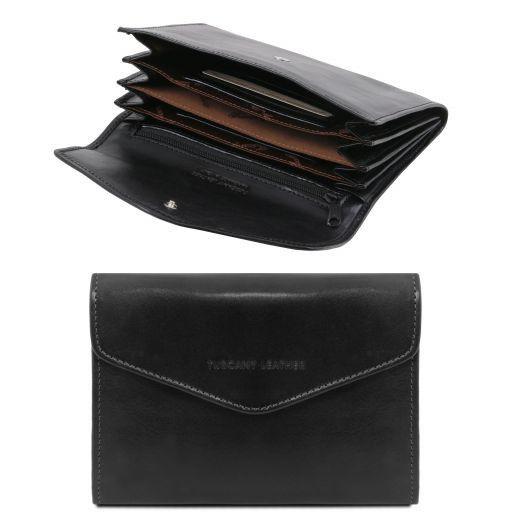 Esclusivo portafogli in pelle da donna con soffietti Nero TL140786