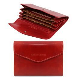 Exclusive leather accordion wallet for women Red TL140786