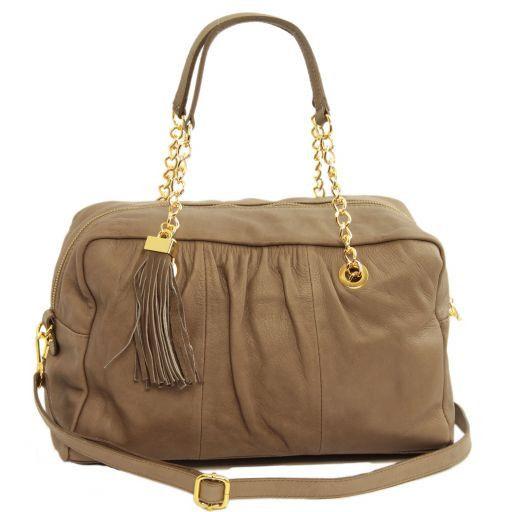 TL Chain Tasche aus Leder mit goldfarbenen Kettenhenkel und Quasten Dunkel Taupe TL141151