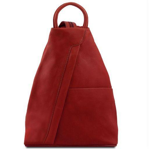 Shanghai Rucksack Tropfendesign aus Leder Rot TL140963