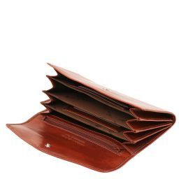 Elégant portefeuille en cuir pour femme avec poches soufflets Marron TL140786