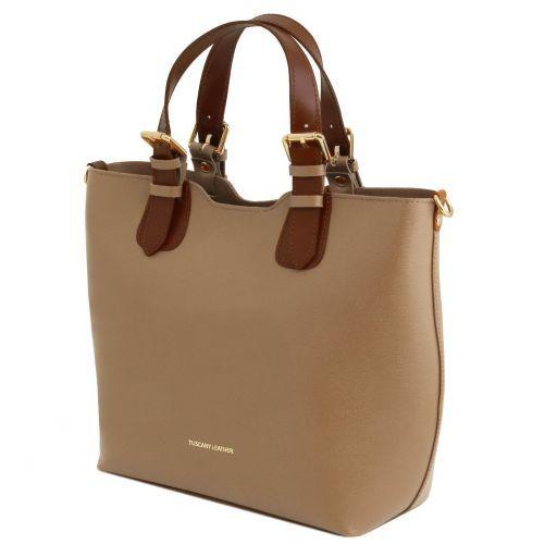 TL Bag Shopping Tasche aus Saffiano Leder Karamell TL141696