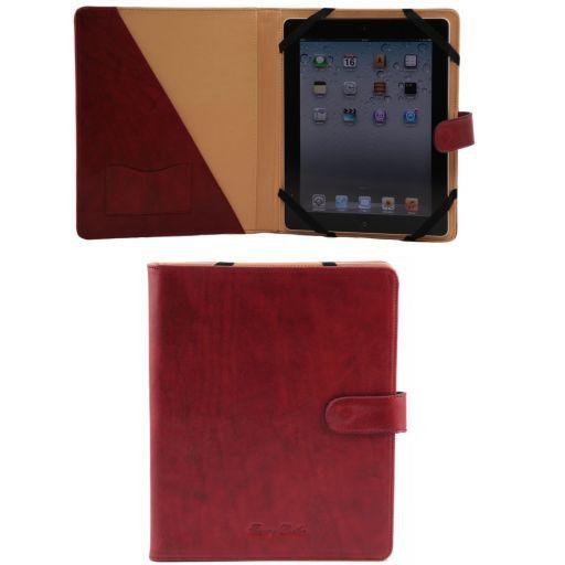 Porta iPad in pelle con bottone Rosso TL141170
