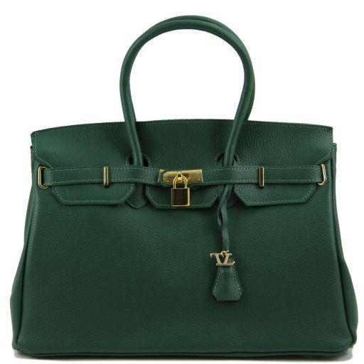 TL Bag Leather handbag with golden hardware Forest Green TL141174