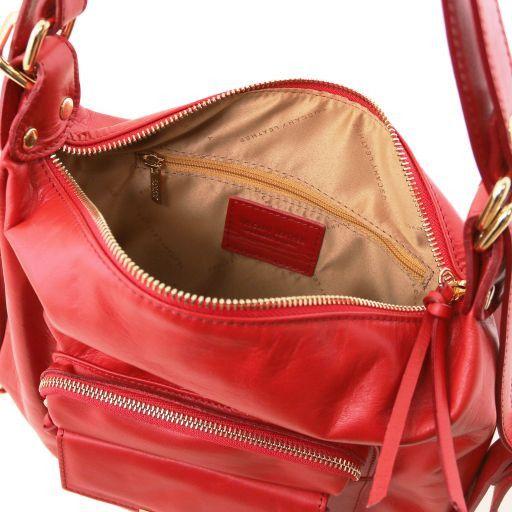 De Bag Señora Piel En Lipstick Convertible Bolso Mochila Tl Rojo SEtdqwt