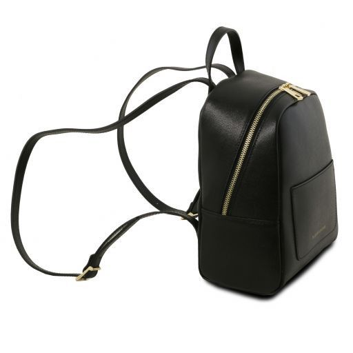 TL Bag Small Saffiano leather backpack for women Black TL141701