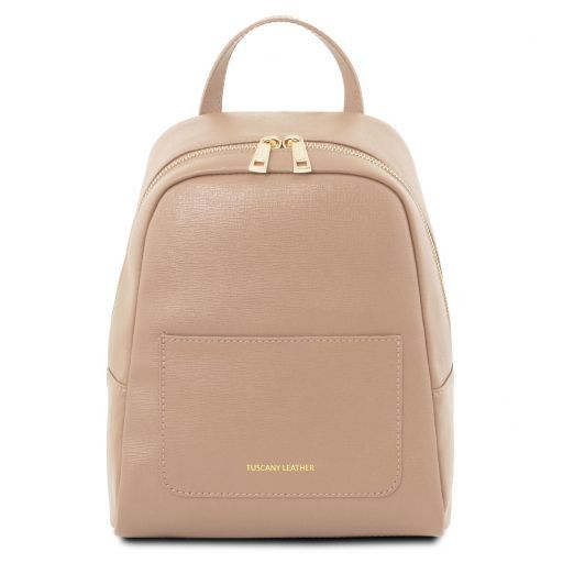 ee69b41435 Small Saffiano leather backpack for women - Nude