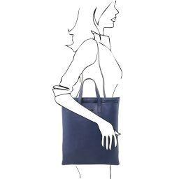 TL Bag Vertikale Umhängetasche aus weichem Leder Dunkelblau TL141680