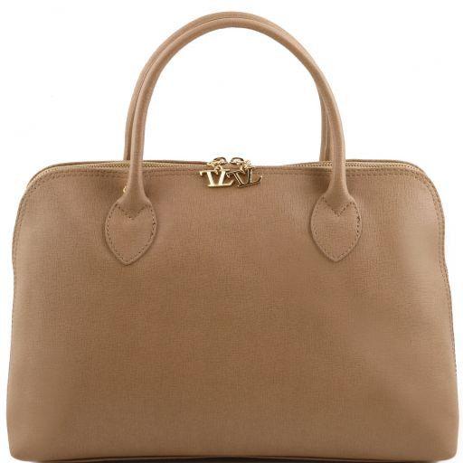 TL Bag Borsa business per donna in pelle Saffiano Talpa chiaro TL141195