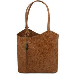 Patty Leather convertible bag with floral pattern Cognac TL141676