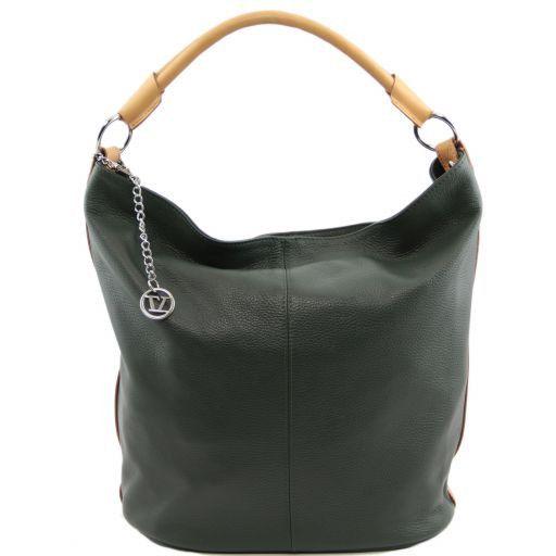 TL Bag Borsa secchiello da donna in pelle Verde Foresta TL141201