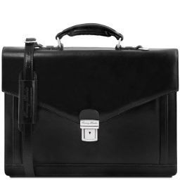 Volterra Leather briefcase 2 compartments Black TL141544