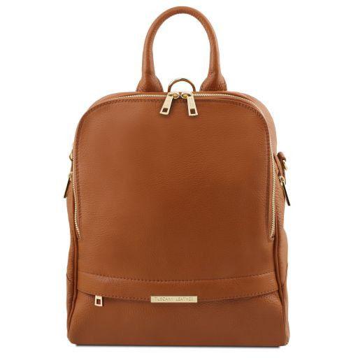 TL Bag Mochila para mujer en piel suave Cognac TL141376