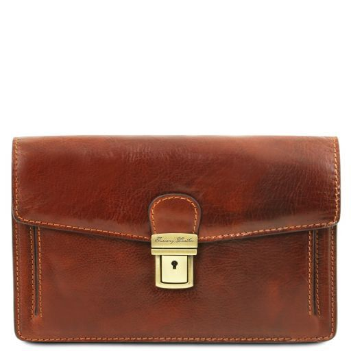 Tommy Exclusive leather handy wrist bag for man Brown TL141442