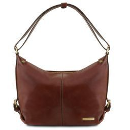 Sabrina Leather hobo bag Brown TL141479