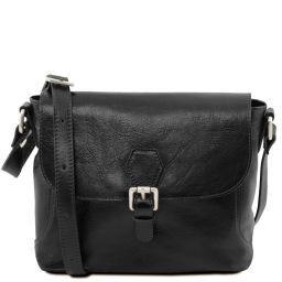 Jody Leather shoulder bag with flap Black TL141278