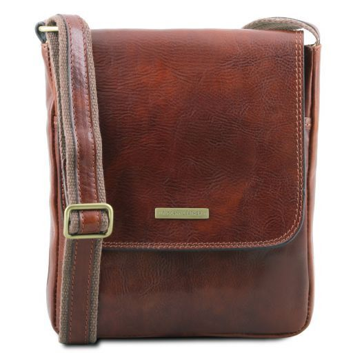 John Leather crossbody bag for men with front zip pocket Коричневый TL141408