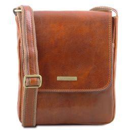 John Leather crossbody bag for men with front zip Honey TL141408