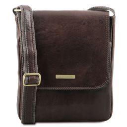 John Leather crossbody bag for men with front zip Dark Brown TL141408