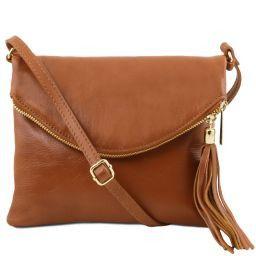 TL Young bag Schultertasche aus Leder mit Quasten Cognac TL141153