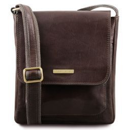 Jimmy Leather crossbody bag for men with front pocket Dark Brown TL141407