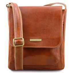 Jimmy Leather crossbody bag for men with front pocket Honey TL141407