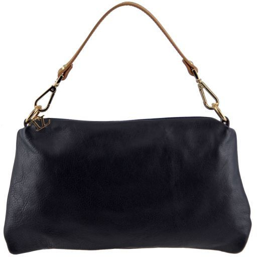 TL Bag Tracollina in pelle con accessori oro Blu scuro TL141209