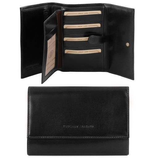 Exclusive 4 fold leather wallet for women Black TL140796