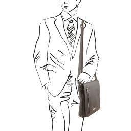 Cesare Bolso en piel suave con bandolera Grey TL141723