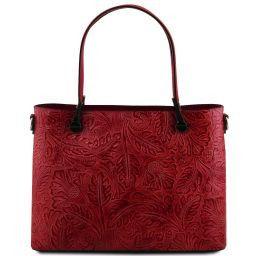 Atena Borsa shopping in pelle stampa floreale Rosso TL141655